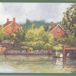 York Wallcoverings - Green Lake Brick Houses Scenery Wallpaper Border - With its colorful, yet soft design, the Green Lake Brick Houses Scenery Wallpaper Border will bring you to a quaint village nestled along the banks of a tranquil lake. Brick houses and their neat little driveways and gardens can be seen, and docks lead the eye down to the water. Tethered boats bob happily, waiting to head off on an adventure, and a forest green trim travels along the top and bottom to complete the design. Coated with Prepasted Peelable to make it washable, the border is simple to use and strippable. You're sure to love the charming finishing touch that it will make for your space.