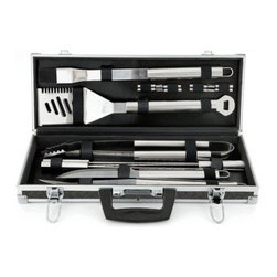 Mr Bar B Q - 18Pc Tool Set - Mr. Bar-B-Q 18-piece Stainless Steel Tool Set includes a 4-in-1 spatula  fork  silicone basting brush  tongs  knife  8 corn skewers  4 skewers and aluminum case; Commercial grade stainless steel; Mirror polished finish prevents rust and corrosion.  This item cannot be shipped to APO/FPO addresses. Please accept our apologies.