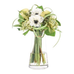 """Silver Nest - Clean Lily Centerpiece- 16""""h - White and Green Anemone Calla Berry Lily Centerpiece in Glass Pyramid Vase"""