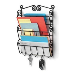 "Spectrum Diversified Design - Scroll Wall Mount Letter Holder & Key Rack - Black - Organize your mail bills keys and more with the Scroll Wall Mount Letter Holder. It provides a central location to keep your life organized. Store your mail neatly in the three slots and organize up to five sets of keys on the bottom hooks. Made of sturdy steel the beautiful scroll design will add a traditional touch to your home.Black and Satin NickelIncludes mounting hardware.CareWipe with a damp cloth and towel dry.FeaturesFeatures three tiers for convenient letter storageStores your mail and multiple sets of keys all in one convenient placePerfect for hanging keys jewelry and other small itemsSturdy steel construction Product SpecificationsHeight:14 1/2""Width:2 1/4""Depth:11 1/4"""