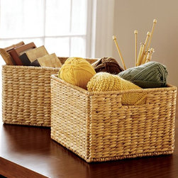 Savannah Utility Basket - Keep everything organized in your shelves with baskets. I love the idea of using a reading nook as a place to do needlepoint or crochet as well.