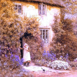 """Art MegaMart - Helen Allingham A Cottage Door - 20"""" x 25"""" Premium Canvas Print - 20"""" x 25"""" Helen Allingham A Cottage Door premium canvas print reproduced to meet museum quality standards. Our museum quality canvas prints are produced using high-precision print technology for a more accurate reproduction printed on high quality canvas with fade-resistant, archival inks. Our progressive business model allows us to offer works of art to you at the best wholesale pricing, significantly less than art gallery prices, affordable to all. We present a comprehensive collection of exceptional canvas art reproductions by Helen Allingham."""