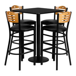 "Flash Furniture - 30"" Square Black Laminate Table Set with 4 Wood Slat Back Metal Bar Stools - 30 in.  Square Black Laminate Table Set with 4 Wood Slat Back Metal Bar Stools - Black Vinyl Seat"