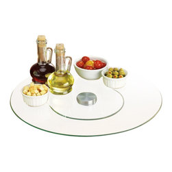 """Home Essentials - Large Glass Lazy Susan - Put a new spin to your dining table or kitchen counter with our elegant large glass lazy susan! This handsome complete kitchen lazy Susan generously proportioned at 19.75"""" in diameter and is the perfect piece to display as your table centerpiece. Cool and handsome, this can make a great housewarming gift for a friend too.                   * Measures 19.75""""D"""