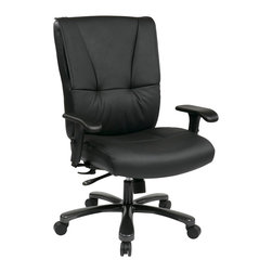Office Star - Office Star Big and Tall Deluxe Executive Leather Chair - Big & Tall Deluxe Executive Leather Chair with Gunmetal Finish Base and 2-Way Adjustable Arms, Built-In Lumbar Support What's included: Office Chair (1).
