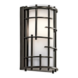 "Kichler - Contemporary Kichler Tremba 10 1/2"" High Olde Bronze Wall Sconce - A marvelous stylized half-round cage-look frame lends a distinctive appeal to this Olde Bronze wall sconce. A white fabric shade diffuses the light from a single halogen bulb inside. A fantastic modern wall fixture from Kichler lighting. Stylized modern wall sconce. Olde Bronze finish. White fabric shade. Metal construction. Includes one maximum 50 watt G9 halogen bulb. 10 1/2"" high. 6 1/4"" wide. Extends 4"". Backplate is 6 1/4"" wide and 10 1/4"" high.   Stylized modern wall sconce.  Olde Bronze finish.  White fabric shade.  Metal construction.  Includes one maximum 50 watt G9 halogen bulb.  10 1/2"" high.  6 1/4"" wide.  Extends 4"".  Backplate is 6 1/4"" wide and 10 1/4"" high."