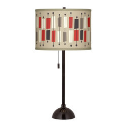"Ragnar - Contemporary Bounce Giclee Glow Tiger Bronze Club Table Lamp - Add style to your favorite room with this club style table lamp. The lamp comes in a tiger bronze finish and has a slim profile perfect for seating areas bedrooms and more. Up top a beautiful Bounce pattern designed by Southern California retro-modern pop artist and illustrator Ragnar is printed onto a sleek drum shade. An on-off pull chain hangs below the shade within easy reach. U.S. Patent # 7347593. Club style table lamp. Bounce pattern printed drum shade. Tiger bronze finish. Maximum 100 watt or equivalent bulb (not included). On/off pull chain. 28"" high. Shade is 13 1/2"" across the top and bottom 10"" high.   Club style table lamp.  Bounce pattern printed drum shade.  Tiger bronze finish.  Maximum 100 watt or equivalent bulb (not included).  On/off pull chain.  28"" high.  Shade is 13 1/2"" across the top and bottom 10"" high."
