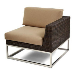 Caluco - Mirabella Left Sectional - The Mirabella Left Sectional combines style, durability, and comfort to provide unmatched value in outdoor seating.  Pictured in the dark java wicker with stainless steel finish.