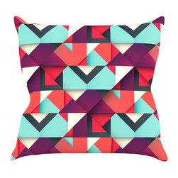 "Kess InHouse - Danny Ivan ""Shapes"" Aqua Purple Throw Pillow (16"" x 16"") - Rest among the art you love. Transform your hang out room into a hip gallery, that's also comfortable. With this pillow you can create an environment that reflects your unique style. It's amazing what a throw pillow can do to complete a room. (Kess InHouse is not responsible for pillow fighting that may occur as the result of creative stimulation)."