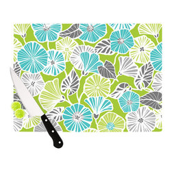 "Kess InHouse - Jacqueline Milton ""Trumpet Vine"" Aqua Green Cutting Board (11"" x 7.5"") - These sturdy tempered glass cutting boards will make everything you chop look like a Dutch painting. Perfect the art of cooking with your KESS InHouse unique art cutting board. Go for patterns or painted, either way this non-skid, dishwasher safe cutting board is perfect for preparing any artistic dinner or serving. Cut, chop, serve or frame, all of these unique cutting boards are gorgeous."
