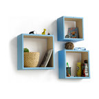 Blancho Bedding - [Pure Blue & White] Square Leather Wall Shelf / Floating Shelf (Set of 3) - These square wall cube shelves add a new and refreshing element to your room and can be easily combined with other pieces to create a customized wall space. Coming in various colors and sizes, they spice up your home's decor, add versatility, and create a whole new range of storage spaces. You can hang them on the wall, or have them stand on table or floor, any way you like. Perfect for wall mounting, these modern display floating shelves are sure to delight. Constructed from MDF with a top faux leather wrapping. Fashion forward design has never been so functional. This range of faux leather storage cubes is sure to delight! Easy to mount, easy to love! Attractive shelf boxes give any wall in your home a striking appearance. Arrange in whatever fashion you like - whether it be grouped together or displayed separately. Each box serves as a practical shelf, as well as a great wall decoration.