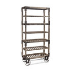 Bassett Mirror - Foundry Rack - Cast wheels add to the rustic/colonial feel of this interesting rack. Measures: 36 in. W x 16 in. D x 78 in. H.