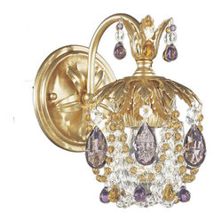 Rondelle French Gold One-Light Amethyst and Topaz Vintage Crystal Wall Sconce