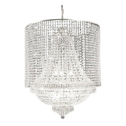 """The Gallery - EMPIRE CRYSTAL CHANDELIER CHANDELIERS LIGHTING WITH CRYSTAL SHADE! - 100% CRYSTAL CHANDELIER, this Empire chandelier is characteristic of the grand chandeliers which decorated the finest Chateaux and Palaces across Europe and reflects a time of class and elegance which is sure to lend a special atmosphere in every home. H30"""" W.27"""" 9 LIGHTS **CRYSTAL SHADE INCLUDED**Assembly Required."""