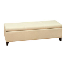 Great Deal Furniture - Barone Storage Ottoman, Beige - The Barone Storage Ottoman offers a sleek storage solution for any room in your home. The top easily props open to reveal a spacious interior for pillows, blankets, books, and more. The balanced design on the top of the ottoman shows a subtle attention to detail that can be expected throughout the entire piece. Great use as a coffee table, storage unit, or for additional seating.