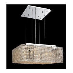Elegant Lighting - Moda Clear Crystal Chandelier w 13 Lights in Chrome (Elegant Cut) - Choose Crystal: Elegant Cut. 6 ft. Chain/Wire Included. Bulbs not included. Crystal Color: Crystal (Clear). Chrome finish. Number of Bulbs: 13. Bulb Type: GU10. Bulb Wattage: 55. Max Wattage: 715. Voltage: 110V-125V. Assembly required. Meets UL & ULC Standards: Yes. 26 in. W x 26 in. D x 11 in. H (40lbs.)Description of Crystal trim:Royal Cut, a combination of high quality lead free machine cut and machine polished crystals & full-lead machined-cut crystals..SPECTRA Swarovski, this breed of crystal offers maximum optical quality and radiance. Machined cut and polished, a Swarovski technician¢s strict production demands are applied to this lead free, high quality crystal.Strass Swarovski is an exercise in technical perfection, Swarovski ELEMENTS crystal meets all standards of perfection. It is original, flawless and brilliant, possessing lead oxide in excess of 39%. Made in Austria, each facet is perfectly cut and polished by machine to maintain optical purity and consistency. An invisible coating is applied at the end of the process to make the crystal easier to clean. While available in clear it can be specially ordered in a variety of colors.Not all trims are available on all models.