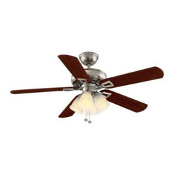 Hampton Bay - Indoor Ceiling Fans: Hampton Bay Lyndhurst 52 in. Indoor Brushed Nickel Ceiling - Shop for Lighting & Fans at The Home Depot. The Hampton Bay Lyndhurst 52 in. Brushed Nickel Ceiling Fan provides great cooling power thanks to its durable MDF blades and powerful 174 RPM motor. Finished in brushed nickel for a sleek, elegant look, this stylish ceiling fan offers 3 speeds and a reverse function for versatile operation. The included 4-light kit uses white Venetian scavo glass to cast an elegant glow. The fan's Accuarm blade technology offers quick, easy installation.