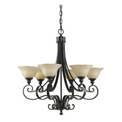 Murray Feiss - Murray Feiss Cervantes Traditional Chandelier X-RBL6/7812F - Traditional and elegant thanks to its curling scrollwork and warm finishes, this Murray Feiss chandelier is sure to please. From the Cervantes Collection, it features six frost amber glass shades as well as a rich toned Liberty Bronze finish that compliments the undertones of the glass shades and completes the look.