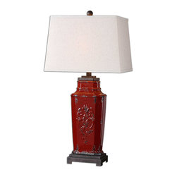 Uttermost - Uttermost Centralia Lamp in Red - Embossed Ceramic Finished in a Deep Red Glaze with aged Black Undertones and Rust Brown Accents.