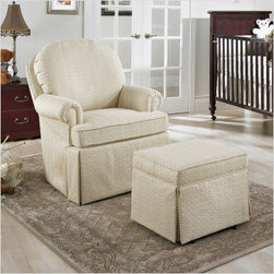 Furniture Glider - If you're looking for a simple and classy rocker and ottoman, consider this option. Incredibly comfortable to the lower back, you can indulge your senses while spending quality time with your baby.