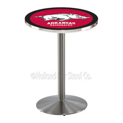 Holland Bar Stool - Holland Bar Stool L214 - Stainless Steel Arkansas Pub Table - L214 - Stainless Steel Arkansas Pub Table belongs to College Collection by Holland Bar Stool Made for the ultimate sports fan, impress your buddies with this knockout from Holland Bar Stool. This L214 Arkansas table with round base provides a commercial quality piece to for your Man Cave. You can't find a higher quality logo table on the market. The plating grade steel used to build the frame ensures it will withstand the abuse of the rowdiest of friends for years to come. The structure is 304 Stainless to ensure a rich, sleek, long lasting finish. If you're finishing your bar or game room, do it right with a table from Holland Bar Stool. Pub Table (1)
