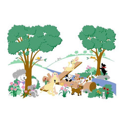 Elephants on the Wall - Puppy Playground Wall Mural - Large - Puppy Playground Wall Mural - Large
