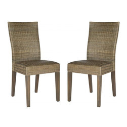 Safavieh - Garrett Side Chair - Relaxed is the new regal. The set of Garrett side chairs is a contemporary interpretation of fine dining. Their tall, crafted rattan backs blend seamlessly into ample seats atop grey mahogany legs. Ideal for the dinner party that lasts until dawn.