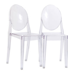 LexMod - Casper Dining Chairs Set of 2 in Clear - Combine artistic endeavors into a unified vision of harmony and grace with the ethereal Casper Chair. Allow bursts of creative energy to reach every aspect of your contemporary living space as this masterpiece reinvents your surroundings. Surprisingly sturdy and durable, the Casper Chair is appropriate for any room or outdoor setting. Pure perception awaits, as shining moments of brilliance turn visual vacuums into new realms of transcendence.