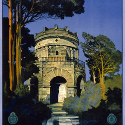 Ravenna, Italy Print - Italian color lithograph poster, originally 100 x 62cm, made in the 1920's by Attilio Ravaglia and funded by the Ente Nazionale Industrie Turistiche (Italy). This poster was created by the Napoli, Richter and Co. It is a travel poster showing the Mausoleum of Theodoric at Ravenna, Italy.