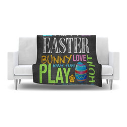 """Kess InHouse - Snap Studio """"Happy Easter Text"""" Pastels Typography Fleece Blanket, 30""""x40"""" - Now you can be warm AND cool, which isn't possible with a snuggie. This completely custom and one-of-a-kind Kess InHouse Fleece Throw Blanket is the perfect accent to your couch! This fleece will add so much flare draped on your sofa or draped on you. Also this fleece actually loves being washed, as it's machine washable with no image fading."""