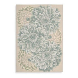 Nourison - Nourison Fantasy Green Chrysanthemum Rug - Multi-tonal chrysanthemums make a bold statement on this gorgeous rug from Nourison. The oversized flowers are set on a neutral beige background.