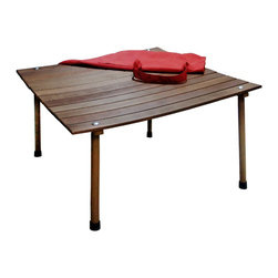 """Southern Enterprises Inc - Southern Enterprises Inc Wilson Picnic Table In-a-Bag Dark Brown Finish X-1111RC - There is more than meets the eye with this table, perfect for outdoor picnics this table's legs fold under and the top rolls up for convenient storage in its included canvas bag. Great for traveling to a park or for occasional set up in the backyard this table is the perfect solution to outdoor gatherings. With a rich dark brown color and all hardwood construction this table is weather friendly. - 30"""" W x 30"""" D x 15"""" H - Dark brown oiled finish - Folding legs for easy knock down - Comes with a canvas bag for storage - Supports up to 75 lb. - Constructed of weather resistant hardwoods - Assembly required - Ships from Carrollton, TX"""