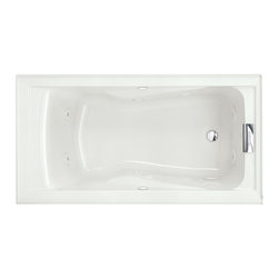 American Standard - Evolution 60 inch x 32 inch Whirlpool Tub with EverClean in White - American Standard 2425VC-RHO.020 Evolution 60 inch x 32 inch Whirlpool Tub with EverClean in White. The American Standard Evolution 5 ft. Whirlpool Tub in White treats you to rejuvenating massage powered by a 1.4 HP pump and an 8-jet system with 2 high-flow comfort jets and 6 adjustable-flow comfort jets. The EverClean surface inhibits the growth of stain and odor-causing bacteria, mold and mildew.American Standard 2425VC-RHO.020 Evolution 60 inch x 32 inch Whirlpool Tub with EverClean in White, Features:Acrylic construction with fiberglass reinforcement for durability