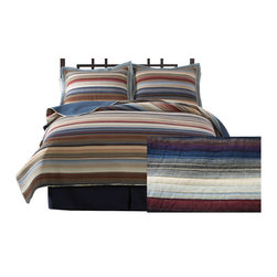 Pem America - Retro Stripe Natural King Quilt - Retro Stripe Natural is a yarn dyed casual pattern that brings a casual look to any room.  This pattern brings color and detail to you bedroom and keeps the casual comfort you want. 1 King Quilt, 100x90 inches. 100% cotton face. Filled with 94% cotton / 6% other fibers. Machine washable.