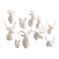 Kathy Kuo Home - Set of 5 Modern White Porcelain Trophy Head Assortment - Large - This menagerie of large porcelain animal heads will keep an eye on all the comings and goings within your rustic or modern home.  This set of five large trophy heads includes a ram, elk, rhinoceros, gazelle and deer, each with a commanding presence all its own. You'll never feel alone with these majestic animal friends keeping you company.