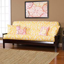 SIScovers - Adele Yellow Futon Cover - The cheerful damask pattern on this polyester futon cover brings a sunny splash of color to your den or guestroom. Available in both full and queen sizes, the comfortable cover is zippered on three sides for easy removal and cleaning.