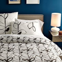 New Organic Charcoal Leaf Duvet + Shams - A fresh spin on traditional botanicals give this certified-organic cotton duvet cover the stylized, high-contrast look of an artist's charcoal sketch.