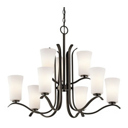 Kichler Lighting - Kichler Lighting Armida Transitional Chandelier X-ZO57034 - This spectacularly elegant chandelier offers an updated expression on classic chandelier form. An olde bronze finish provides relief against the satin etched white glass shades when they come to life. The Kichler Lighting Armida Transitional chandelier provides warm lighting which is a welcoming presence for any room.