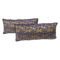 Pair of Purple/Gold Lumbar Pillows - Pair of custom pillows made with a vintage purple and gold printed Aztec-style design. Same fabric on back, zipper closure.