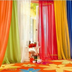 6-Piece Rainbow Sheer Window Panel Curtain Set - Sheer curtains in vibrant colors are light and bright — the essence of a true rainbow.
