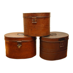 Metal Hat Boxes - Antique and vintage items add so much character to a space. This collection of antique English hat boxes (circa 1890) would do just that while offering additional storage space.