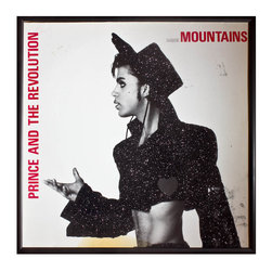 """Glittered Prince Mountains Album - Glittered record album. Album is framed in a black 12x12"""" square frame with front and back cover and clips holding the record in place on the back. Album covers are original vintage covers."""