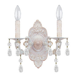 Crystorama - Crystorama Sutton Wall Sconce in Antique White - Shown in picture: Swarovski Spectra Crystal Chandelier; Sutton Collection's Antique White finish has a distressed gold brush strokes. This Paris Flea look is timeless and whimsical.