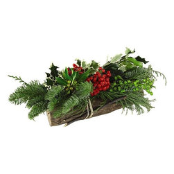 Home Decorators Collection - Forest Holly Log - Place our Forest Holly Log on a table or in an unused fireplace to add a cozy feel and welcoming scent to your seasonal decorating concept. Covered with fragrant greens, this holiday decor item is tied with rope and embellished with real pine cones. Fresh holly and other greens with pine cone accents. Tied with rope. Standard delivery time is approximately three business days within the continental US, pending inclement weather.