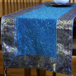 "Elegant Table Runners - Stunning ""Ocean Blue"" Table Runner. Embroidered by hand in India. Dupion fabric. Perfect decor idea to embellish your room."