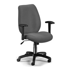 OFM - OFM Ergonomic Manager's Chair with Adjustable Arms in Graphite - OFM - Office Chairs - 61113 - Finding the right position is easy with OFM's Ergonomic Manager's Chair Model 611. The classic style of this chair enhances any office decor. Anyone sitting in it will be perfectly ergonomic using the ratchet back height adjustment swivel/tilt/lock mech