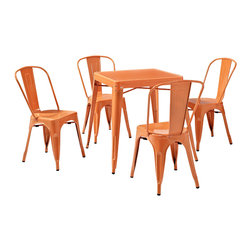 Crosley - Crosley KD522001OR Amelia 5-Piece Metal Cafe Dining Set - Orange - Originally made famous in the quaint bistros of France, these midcentury replicas of original cafe seating will offer a dose of nostalgia combined with careful consideration for your wallet. This inspired revival evokes a sense of a true vintage find.