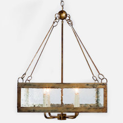 Brilliant Coastal Lighting - Calibougie Square Pendant with Seeded Glass dimensions: 24 SQ X 321H