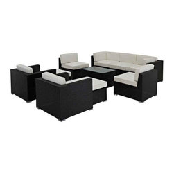 Modway - Avia Outdoor Rattan 10 Piece Set In Espresso With White Cushions - Eei- - Surround yourself with a modern landing pad of exploration. Positioned to advance your outdoor patio, backyard, or pool area, Avia helps you bestow acceleration to your outward achievements and social celebrations.
