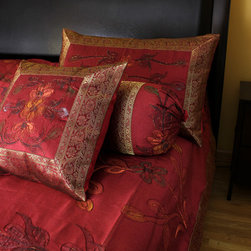 "Luxurious & Decorative Bedding Sets - ""Hand Painted"" 7-piece bedding set. Saffron Red color. King Size. Soft, and luxurious Dupion silk fabric."